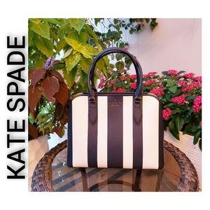 Kate Spade NWT Darcy Pond Striped Satchel Large Navy White WKR00435